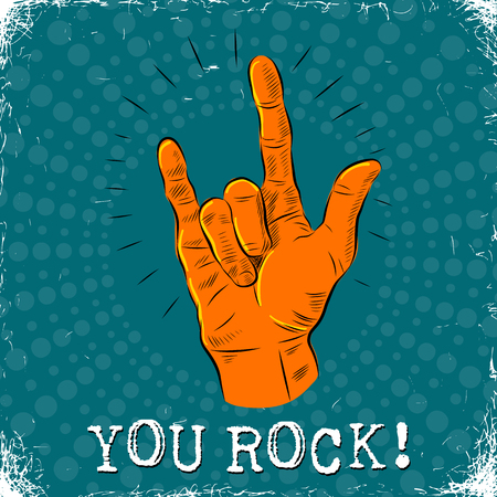 You rock vector illustration with a hand gesture Illustration
