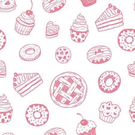 porcion de pastel: Modelo con los dibujados a mano postres Doodle: rosquillas, magdalenas, tortas, pasteles, magdalenas.