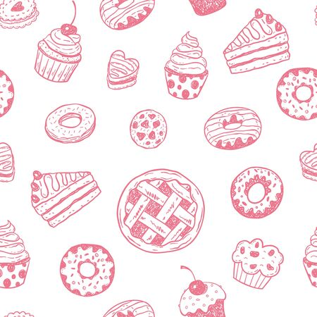 Pattern with hand drawn doodle desserts: donuts, cupcakes, cake, pie, muffins. Illustration