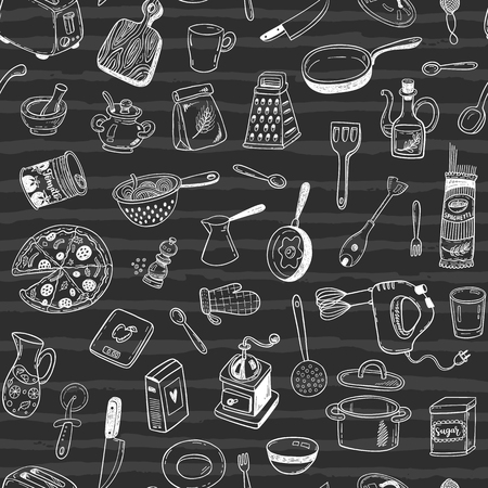 isolated ingredient: Vector pattern with hand drawn sketch kitchen tools on a blackboard Illustration