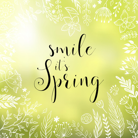Smile it`s spring. vector greeting card with hand written calligraphic phrase