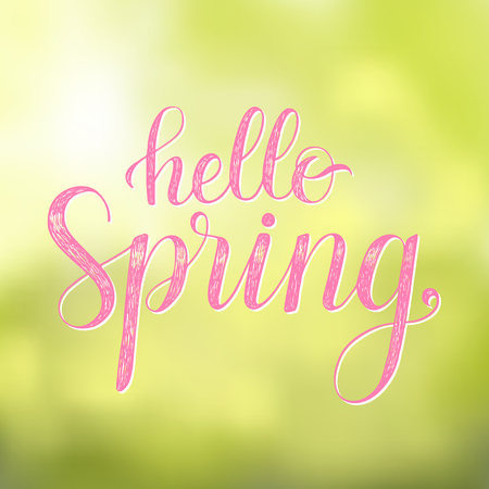 Hello Spring. Vector greeting card with hand written calligraphic phrase on a blurred background.
