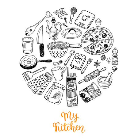 Cooking doodles collection. Kitchen decorations, can be used for greeting card, t-shirt design, print or poster