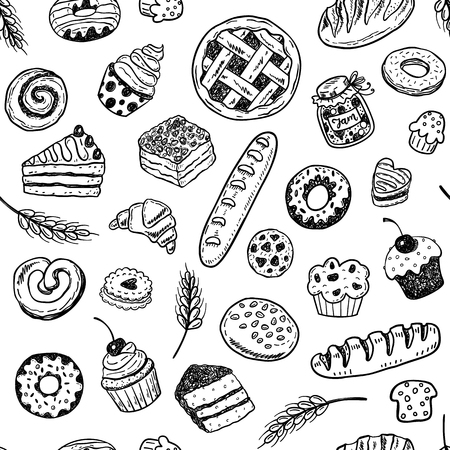 Modèle vectorielle continue avec des produits de boulangerie doodle dessinés à la main et des pâtisseries