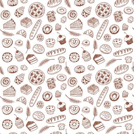 Modèle vectorielle continue avec des produits de boulangerie doodle dessinés à la main et des pâtisseries Banque d'images - 85454719