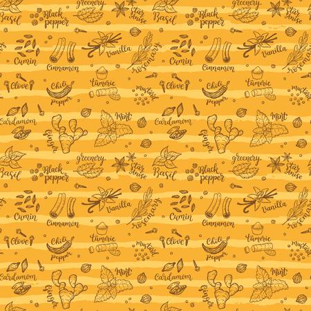 手描きのスパイスとハーブの落書きとシームレスなベクトルパターンの背景。