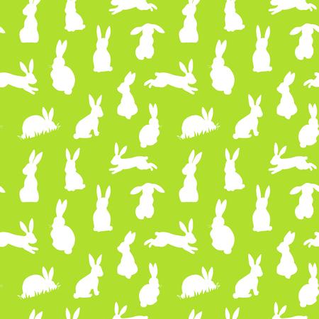 Seamless vector background with white easter rabbits silhouettes on a green background Illustration