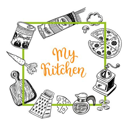 메모 또는 요리법 카드를위한 페이지 템플릿 세트 손으로 그린 낙서 음식 및 주방 디자인 요소