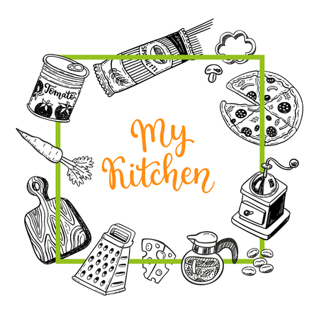 Page template set for notes or cooking recipe cards with hand drawn doodle food and kitchen design elements Imagens - 94668801