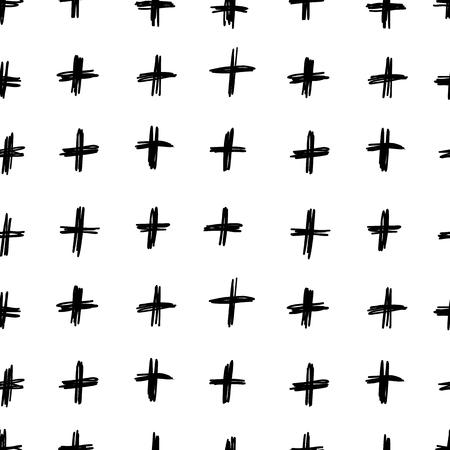 간단한 손으로 그려진 흑백 패턴과 크로스 스트로크