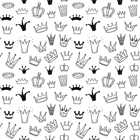 Hand drawn princess crowns doodle seamless pattern