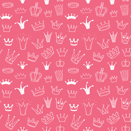 Seamless vector pattern with doodle princess crowns Illustration