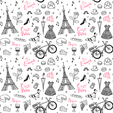 Seamless vector pattern with hand drawn Paris, France symbols doodles.