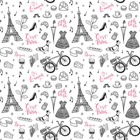 Bezszwowych wektora deseniu z wyciągnąć rękę Paryż, Francja doodles symboli.