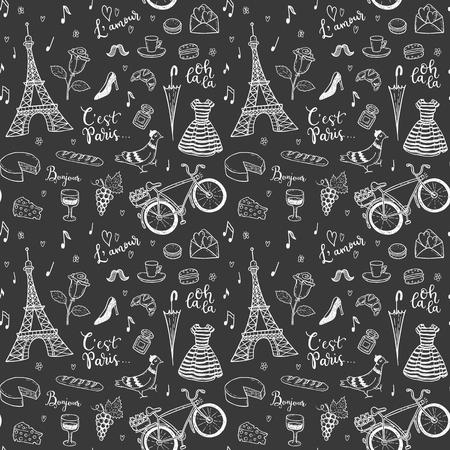 手で描かれたパリのシームレスなベクターパターン、フランスのシンボルの落書き。  イラスト・ベクター素材