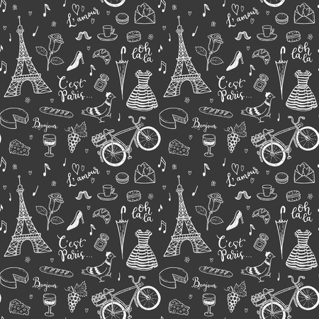 Seamless vector pattern with hand drawn Paris, France symbols doodles. Zdjęcie Seryjne - 85454746