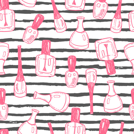 Seamless vector pattern with hand drawn nail polish bottles on a striped background