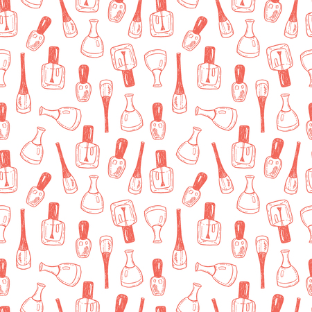 Seamless vector pattern with hand drawn nail polish bottles Illustration