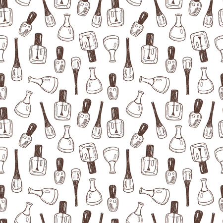 Seamless vector pattern background with hand drawn nail polish bottles.