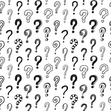 Seamless vector pattern with doodle questions marks