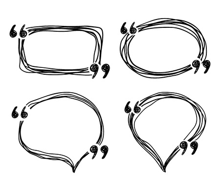 Hand drawn doodle quotes boxes, speech bubbles, sketch vector frames