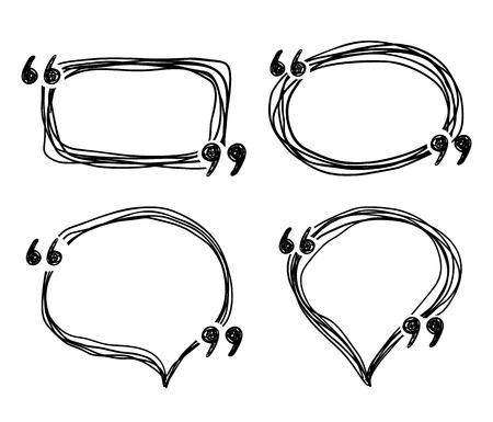 Hand drawn doodle quotes boxes, speech bubbles, sketch vector frames