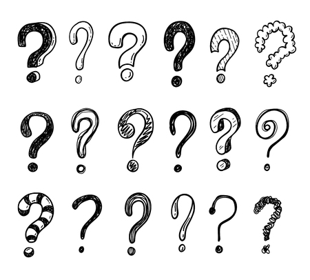 Hand drawn doodle questions marks set.