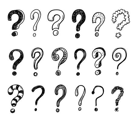 Hand getrokken doodle vragen markeringen instellen.