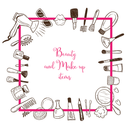Beauty and make up items in a square frame with doodle cosmetics.