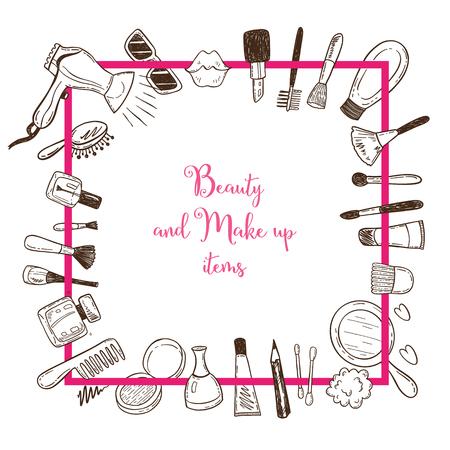 Schoonheid en make-up items in een vierkante frame met doodle cosmetica.