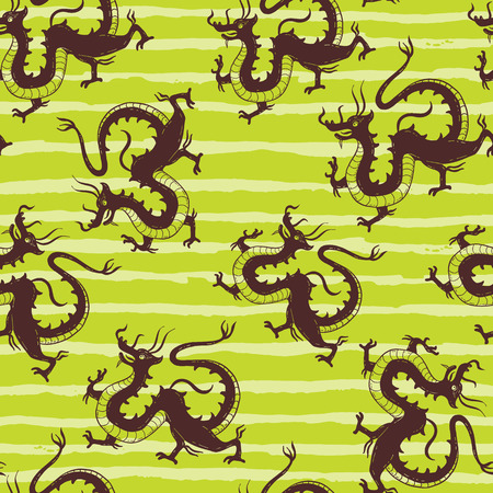 Seamless vector pattern with Traditional Chinese Dragon