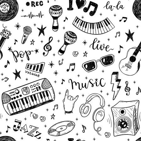 Naadloos vector patroon met handgetekende muziekinstrumenten