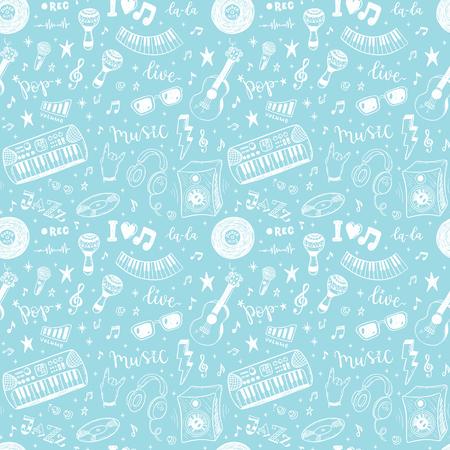 Naadloos vectorpatroon met hand getrokken muziekinstrumenten