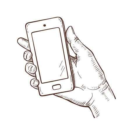 Vector sketch illustration of human hand holding smartphone Stock Illustratie