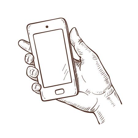Vector sketch illustration of human hand holding smartphone Illustration