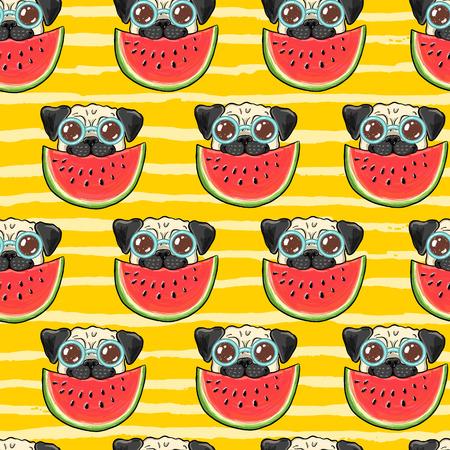 Naadloos de zomer vectorpatroon als achtergrond met grappige pug hond in zonnebril die watermeloen eten