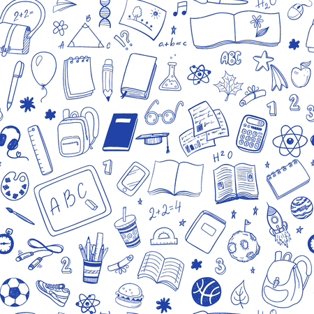 Hand drawn doodle school vector seamless pattern