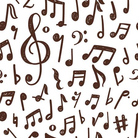 手描きの音符を使用したシームレスなパターンデザイン  イラスト・ベクター素材