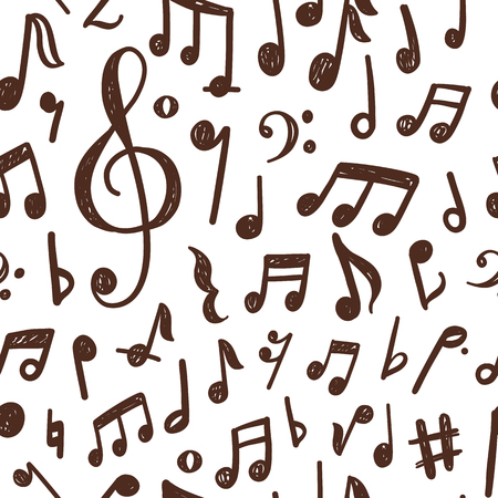 Seamless pattern design with hand drawn musical notes Stock Illustratie