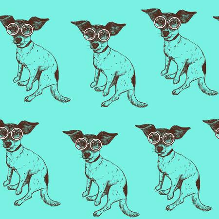 シームレス パターン手描かれたジャック ラッセル テリア犬メガネで