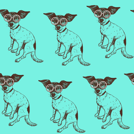 Seamless pattern with hand drawn jack russell terrier dog in glasses