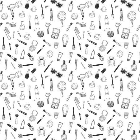 Het naadloze patroon met hand getrokken schoonheid, maakt omhoog, kosmetische krabbels, geïsoleerde vectorachtergrond Stockfoto - 85455037