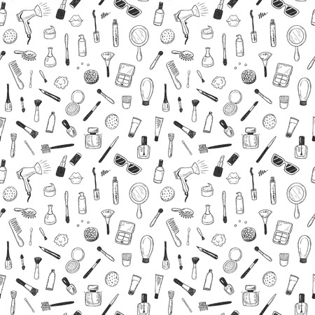 Seamless pattern with hand drawn beauty, make up, cosmetic doodles, isolated vector background 版權商用圖片 - 85455037