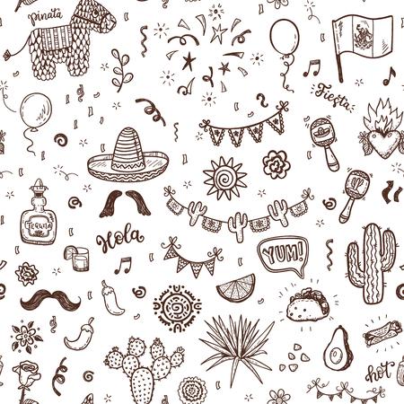 Modèle sans couture de vecteur avec éléments mexicains dessinés à la main doodle. Fête de l'indépendance, célébration du Cinco de Mayo, décorations de fête pour votre conception. Banque d'images - 85455047