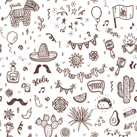 Vector seamless pattern with hand drawn doodle Mexican elements.  Independence day, Cinco de mayo celebration, party decorations for your design.