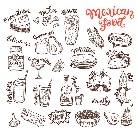 Mexican cuisine, sketch doodle food set Vector Illustration