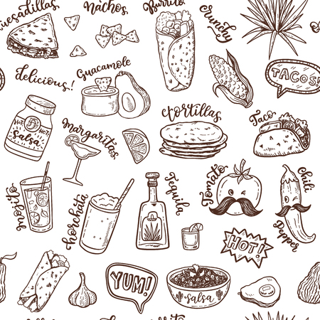 Seamless vector pattern with hand drawn Mexican food. Illustration