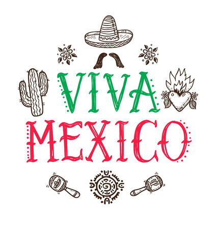 Viva Mexico greeting card with hand drawn Mexican doodle icons Illustration