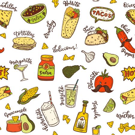 Seamless vector pattern with hand drawn Mexican food. 向量圖像