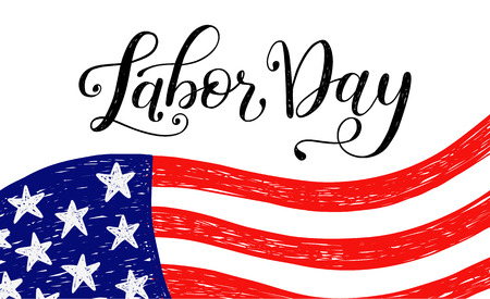 Vector Illustration Labor Day a national holiday of the United States. American Happy Labor Day Sale poster with hand written calligraphic phrase. Stok Fotoğraf - 85488717